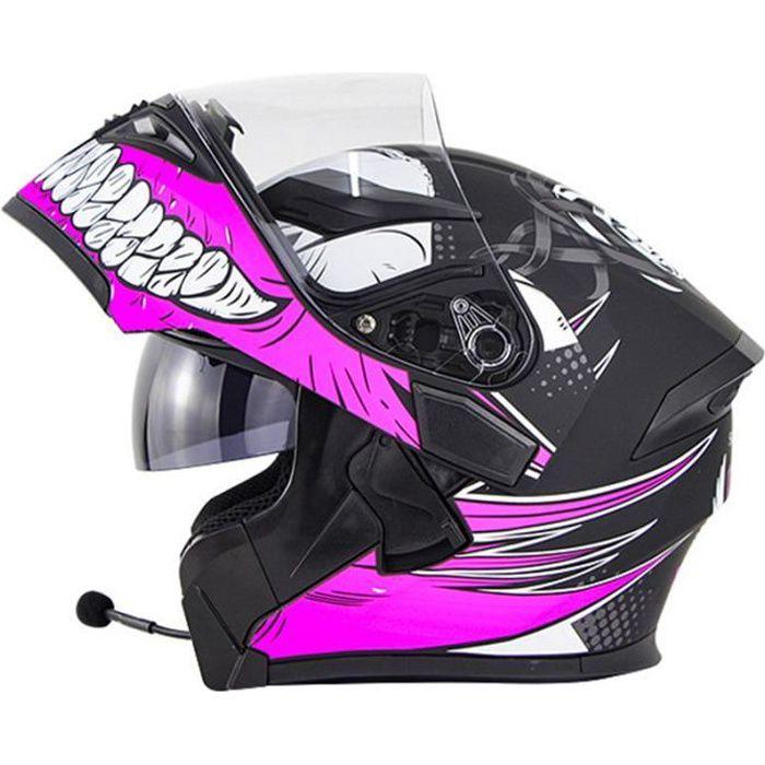 Casque de moto modulable double lentilles casque Bluetooth de sécurité hommes casque de scooter femmes, Griffin rose