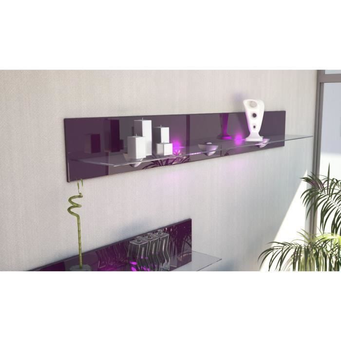 Etagère design en bois et verre mûre avec led 146 cm