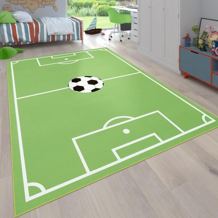 Tapis Pour Enfants, Tapis De Jeux Chambre D'Enfant Avec Motif Football, Vert [80x150 cm]