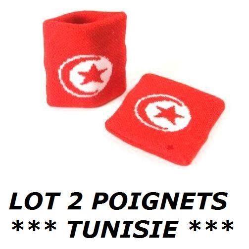LOT 2 Bracelets poignet éponge 100% coton TUNISIE Sport Football Jogging Tennis - No maillot drapeau écharpe fanion casquette ...