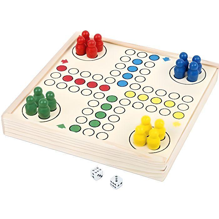Small Foot Ludo to go, jeu de société dans Une boîte en Bois Pratique, Jeu de Divertissement en Route, 3 Ans +, 11210, M 1121
