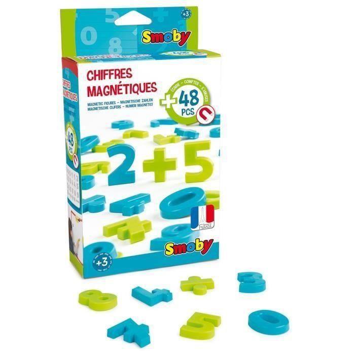 SMOBY 48 Chiffres Magnetiques Majuscules Vert/Bleu
