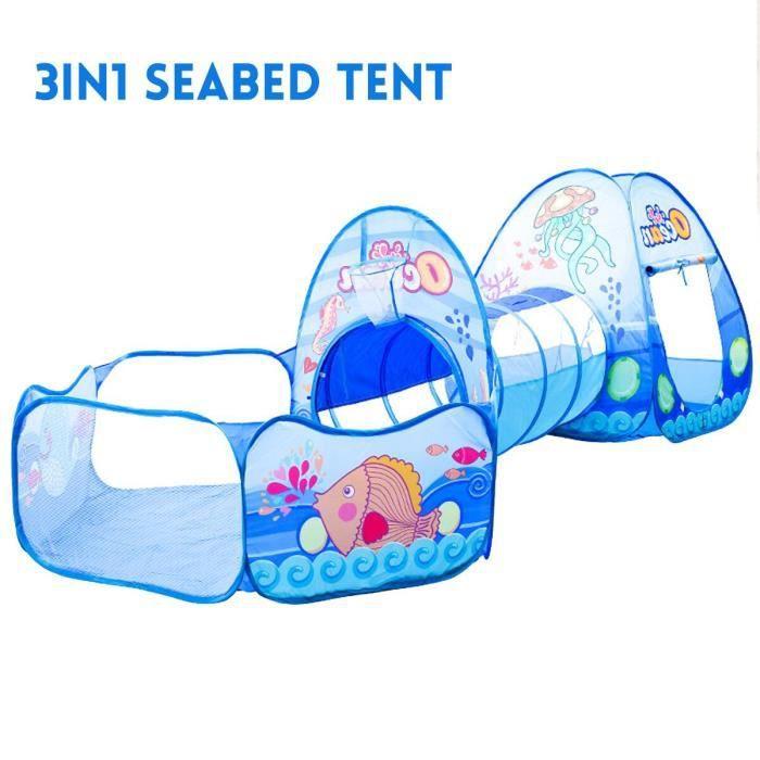 3 en 1 Tente de Jeu Piscine à Boules avec Tunnel Maison de Jouet Enfants