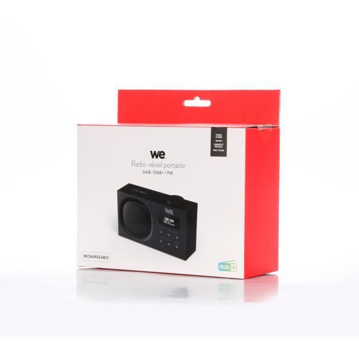 WEWe Radio portable DAB+/FM rechargeable RMS 3W, Double alarme Luminosité réglable Noire