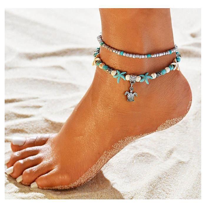 Turquoise Beads Chaîne Dorée Bracelet Bracelet Barefoot Sandal Plage Pieds Chaînes