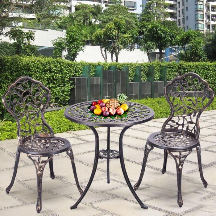 Table de Jardin et 2 Chaises en Aluminium Ensemble Bistrot ...