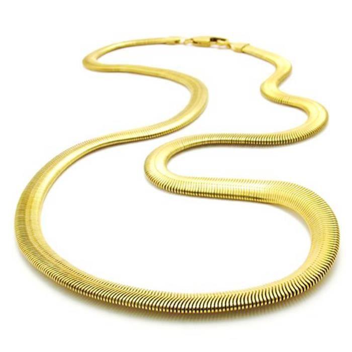 CHAINE DE COU SEULE doux os de serpent chaîne Plaqué or 24 carats Femm