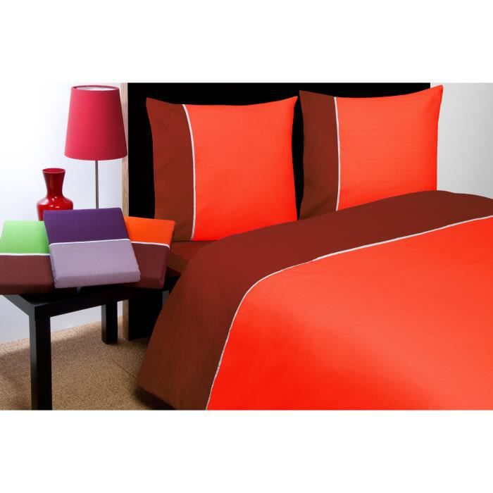 Housse de couette orange et choco collection prestige for Housse de couette orange