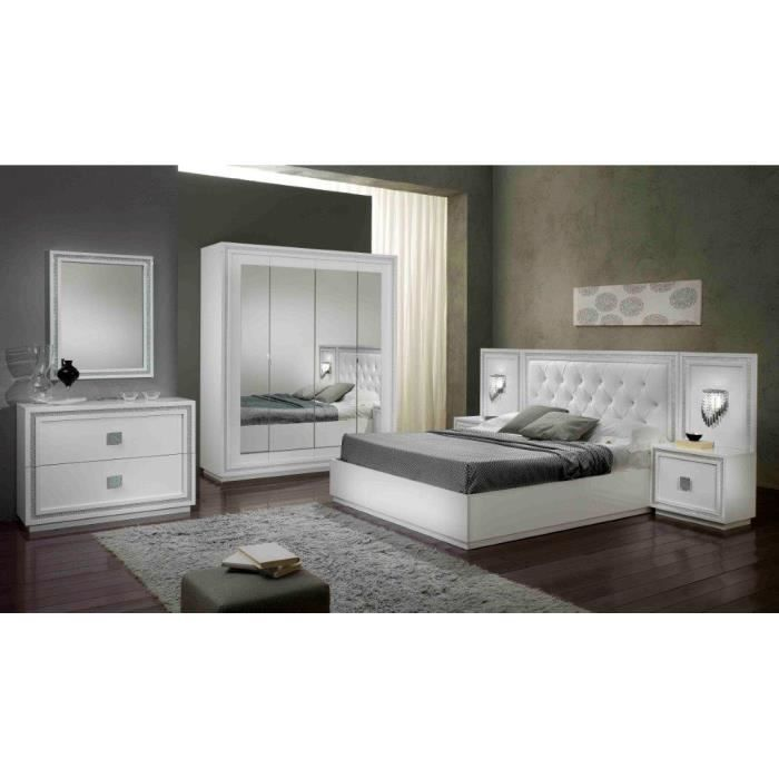 Kristel blanche laquee ensemble chambre a coucher ar 4 portes lit coifre 160 - Ensemble chambre a coucher adulte ...