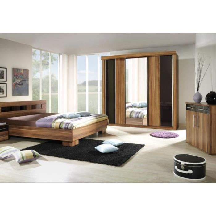 chambre coucher compl te dublin adulte design noyer lit 140x190 cm armoire commode 2. Black Bedroom Furniture Sets. Home Design Ideas