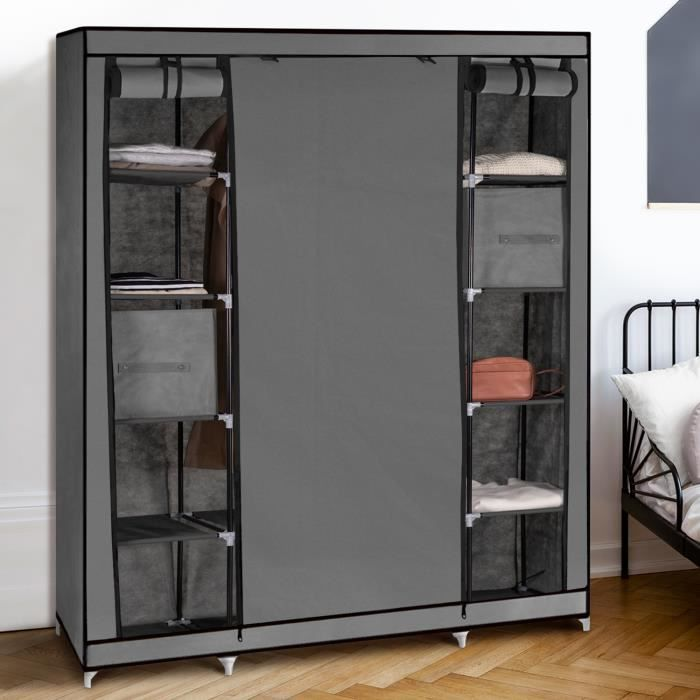 armoire de rangement grise dressing grande capacit xxl achat vente armoire de chambre. Black Bedroom Furniture Sets. Home Design Ideas