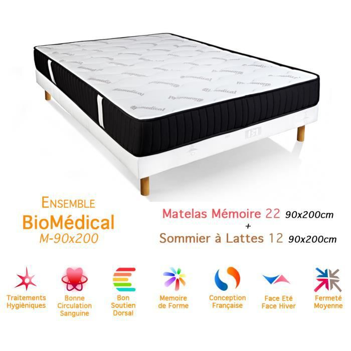ensemble biom dical matelas m moire de forme sommier 22 12 90x200cm achat vente ensemble. Black Bedroom Furniture Sets. Home Design Ideas