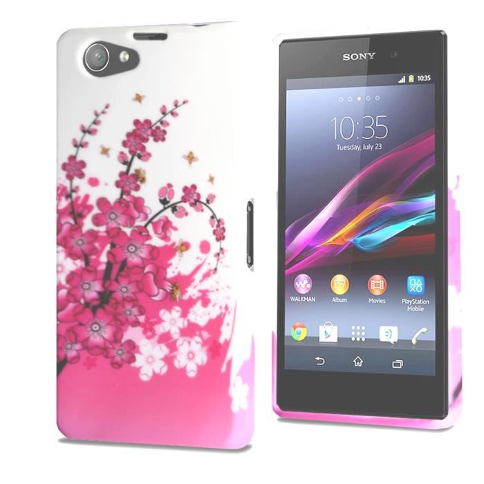 coque bumper coque xperia z1 compact fleur 1 rose blanc fashion. Black Bedroom Furniture Sets. Home Design Ideas