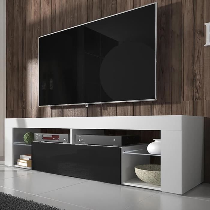 meuble tv hugo blanc mat noir brillant sans led achat vente meuble tv meuble tv hugo blanc. Black Bedroom Furniture Sets. Home Design Ideas