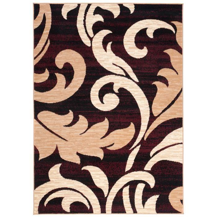 TAPISO Dream Tapis de Salon Chambre Design Moderne Beige Marron Rouge Motif  Feuilles Fin Doux Poil Court 300 x 400 cm