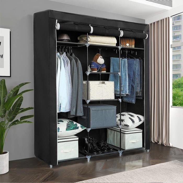 Armoire Penderie Armoire Textile Mobile Noir 150x45x175 Cm