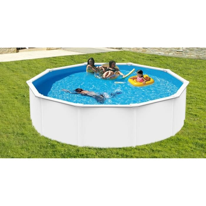 trigano piscine ronde en m tal 4 95x1 20m blanc achat vente kit piscine piscine ronde en. Black Bedroom Furniture Sets. Home Design Ideas