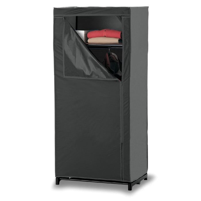 armoire penderie souple 70x50x160cm noir achat vente. Black Bedroom Furniture Sets. Home Design Ideas