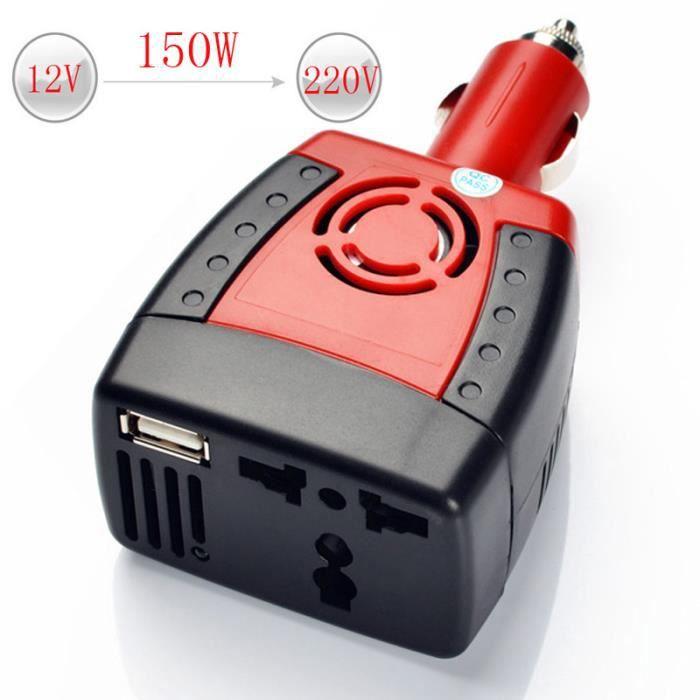 chargeur de voiture 150W convertisseur de voiture auto pour alimentation multifonction pour voiture avec chargeur USB onduleur universel de voiture