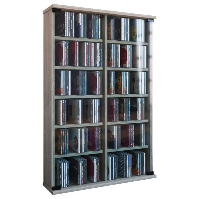 roma tour rangement biblioth que cd dvd 300 cd sonoma ch ne achat vente biblioth que roma. Black Bedroom Furniture Sets. Home Design Ideas
