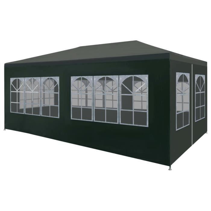 Homgeek Tente de Reception Tente de jardin chapiteau jardin Résistance aux  UV et à l\'eau tonnelle 3 x 6 m vert