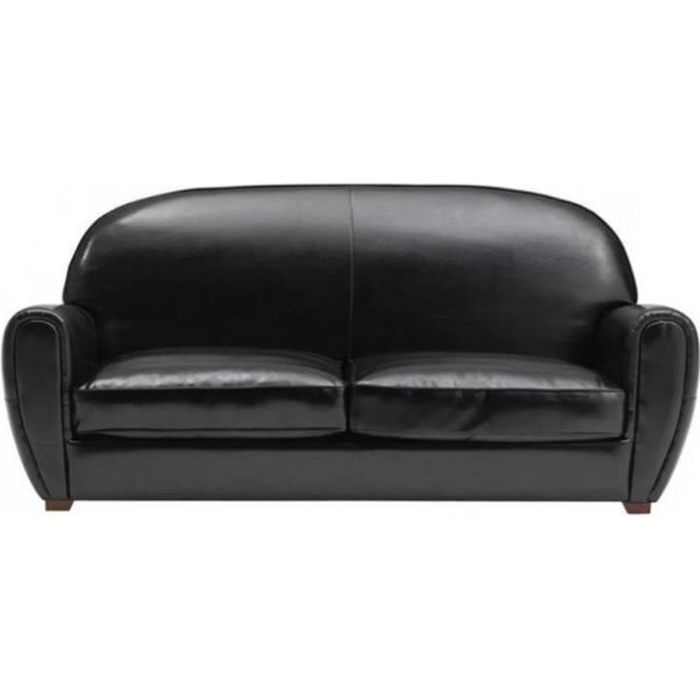 Canap design intemporel club en cuir bycast noir achat vente canap so - Canape cuir noir design ...