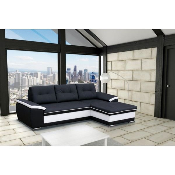 canap d 39 angle 4 places moderne london noir et achat. Black Bedroom Furniture Sets. Home Design Ideas