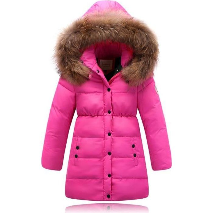 doudoune enfant fille longue capuche fourrure parka gar on hiver 90 duvet noir 4 ans 16 ans. Black Bedroom Furniture Sets. Home Design Ideas
