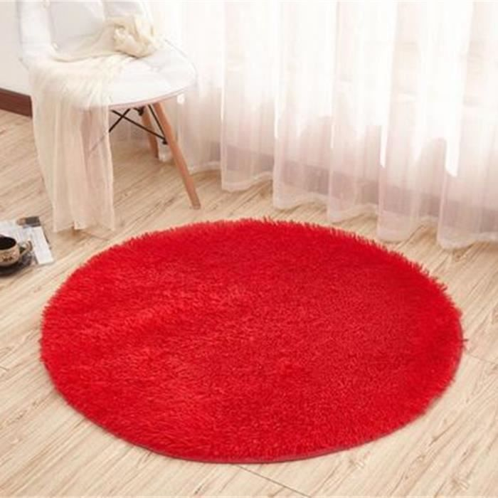 tempsa tapis rond rouge peluche anti d rapant pour salle de bain chambre 200cm achat vente. Black Bedroom Furniture Sets. Home Design Ideas