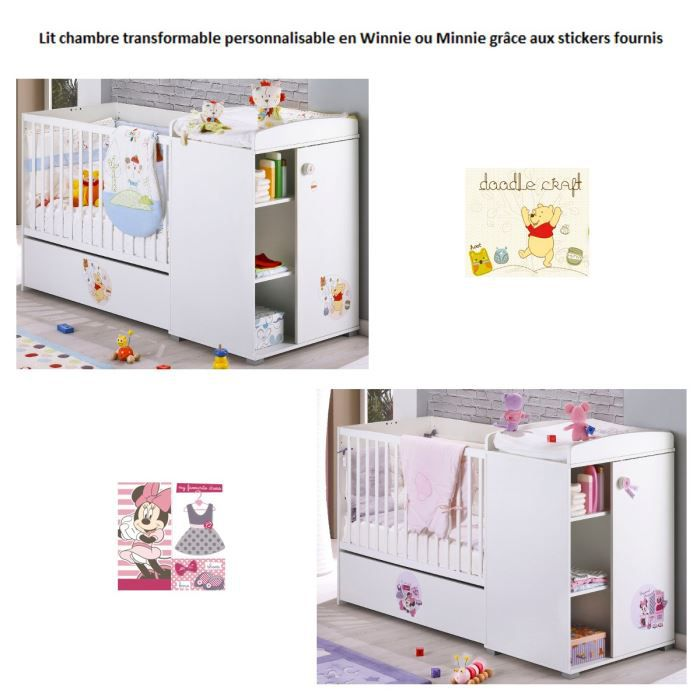 disney lit combin personnalisable winnie minnie blanc achat vente chambre compl te b b. Black Bedroom Furniture Sets. Home Design Ideas