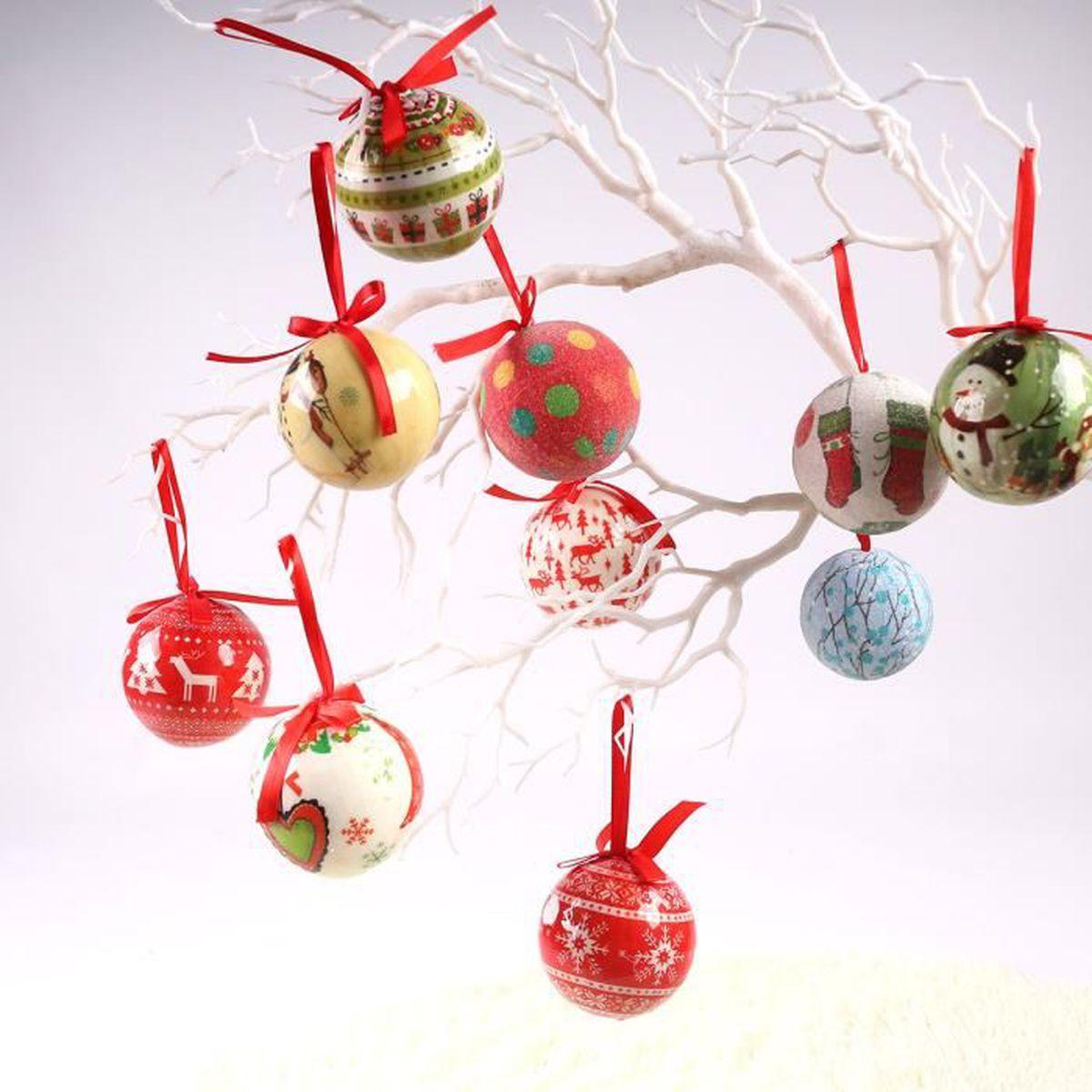 Boule De Noel Transparente A Decorer 10pcs boule pendante décoration d'arbre noël ornement festif