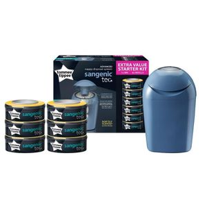 POUBELLE À COUCHES TOMMEE TIPPEE Starter Pack Tec bleu - 1 bac + 6 re