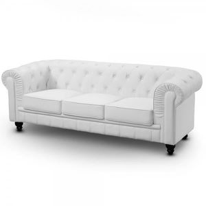 chesterfield blanc achat vente chesterfield blanc pas cher cdiscount. Black Bedroom Furniture Sets. Home Design Ideas