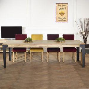 TABLE À MANGER SEULE Table à rallonges bois et métal, 260 cm, BALTIMORE