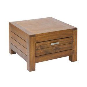 Petite table basse bois exotique style colonial46x41cm ...