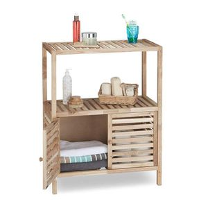 COLONNE - ARMOIRE SDB Relaxdays Armoire de salle de bain en bois de noye