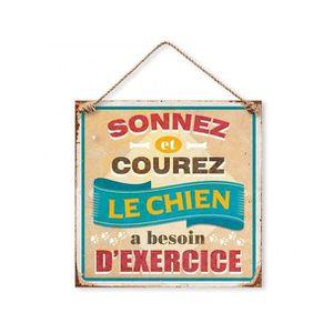 Plaque Décorative en Métal 20x20 cm Sonnez et Courez