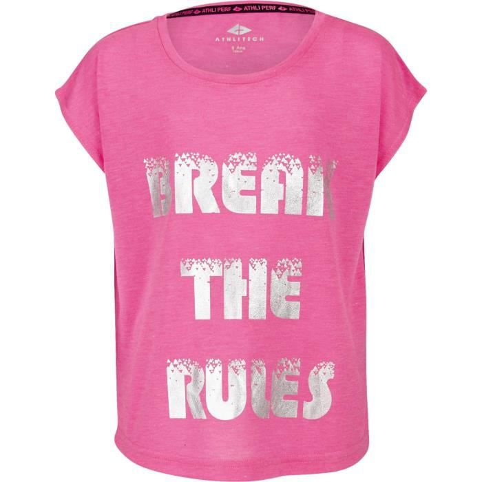 ATHLI-TECH T-shirt Esther - Enfant fille - Rose et gris