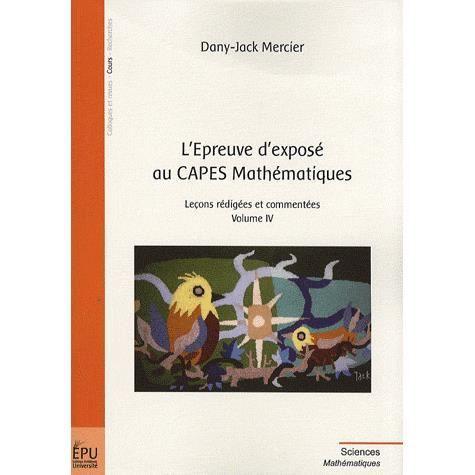 L'Epreuve d'exposé au CAPES Mathématiques