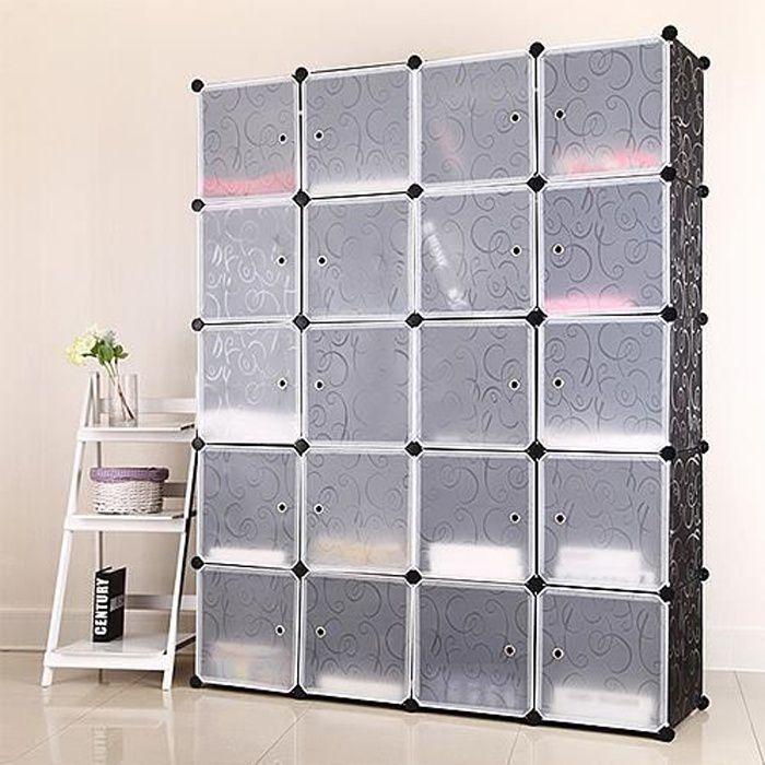 Armoire de Chambre Rangement 20 cubes Penderie Plastique, Meuble Rangement 20 Cubes Modulables Noir Blanc
