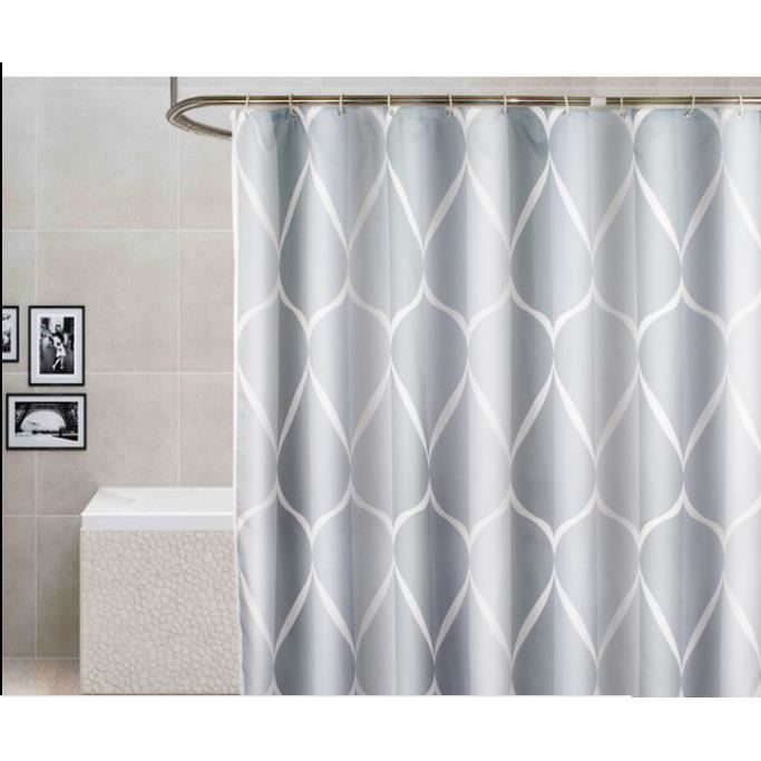 1 pc Rideau de douche Rideau salle de bain imprimé anti-moisissures Rideau pour Baignoire à crochets 180*200 cm