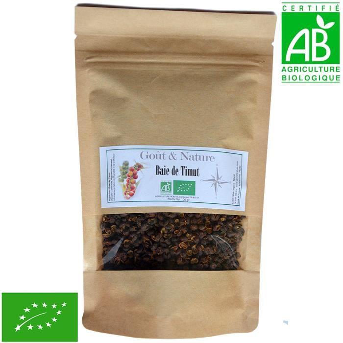 100 gr baie de Timut Bio, culture biologique certifiée, sachet zip refermable. Poivre de Timut, poivre pamplemousse