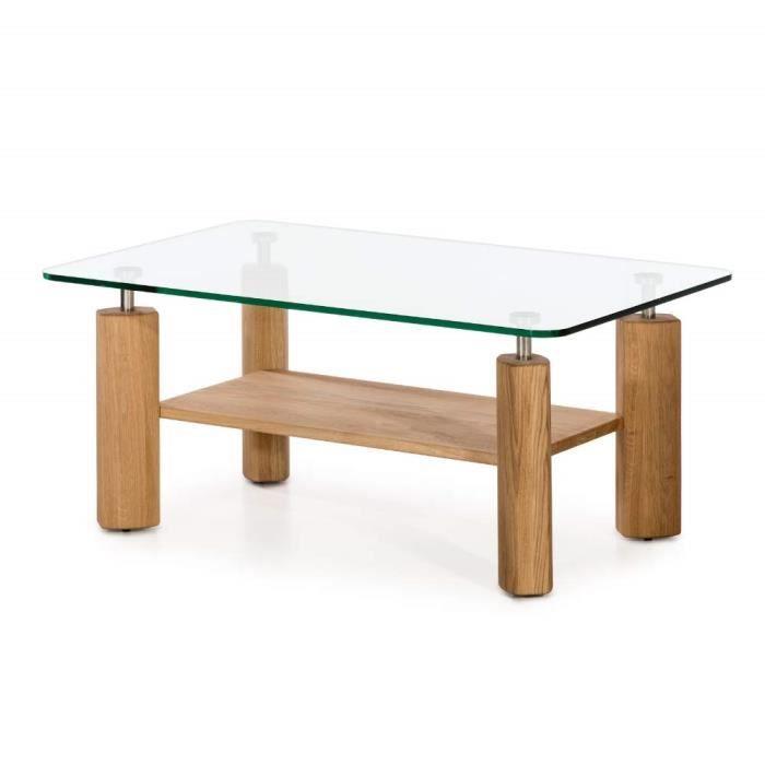 Alkove - Hayes - Table basse moderne en bois massif avec plateau en verre, Chêne sauvage - N356421/OIL