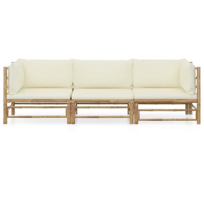 #58624 Salon de jardin 3 pcs Professionnel - Ensemble Table et Chaise de Jardin avec coussins blanc crème - Bambou Parfait