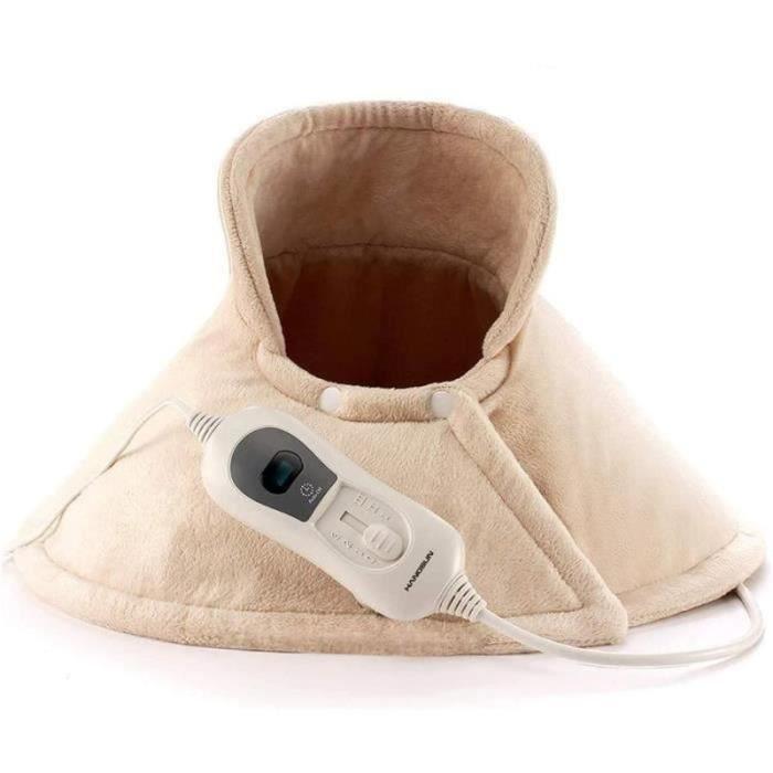 Coussin chauffant Électrique Nuque et Épaules Portable pour Relaxation Lavable en Machine Cordon Détachable avec 3réglages de chaler