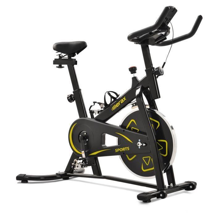Vélo d'appartement Merax Vélo biking avec accessoires et outils à courroie réglable Sport avec moniteur numérique, Jaune