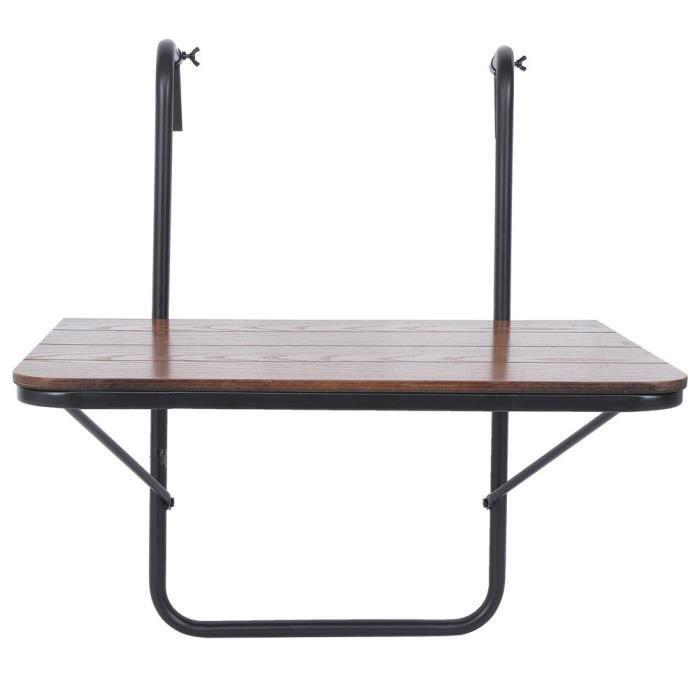 Table suspendue pour balcon en MDF et fer 60 x 40 x 39 cm argent LEH2158