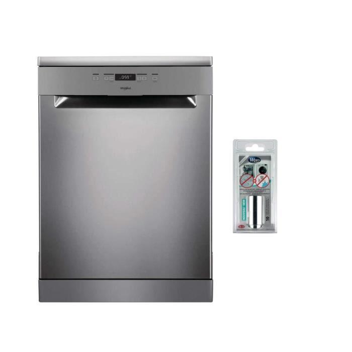 Pack WHIRLPOOL OWFC3C26X Lave-vaisselle posable - 14 couverts - A++ - 46dB + MWB102 Anticalcaire magnétique & Vanne anti-inondation