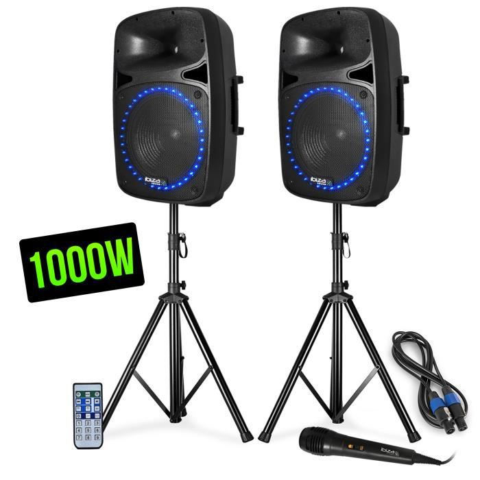 Pack sonorisation - LED-FM-USB-SD-BLUETOOTH - 15--38cm 1000W - Ibiza Sound PKG15A-SET