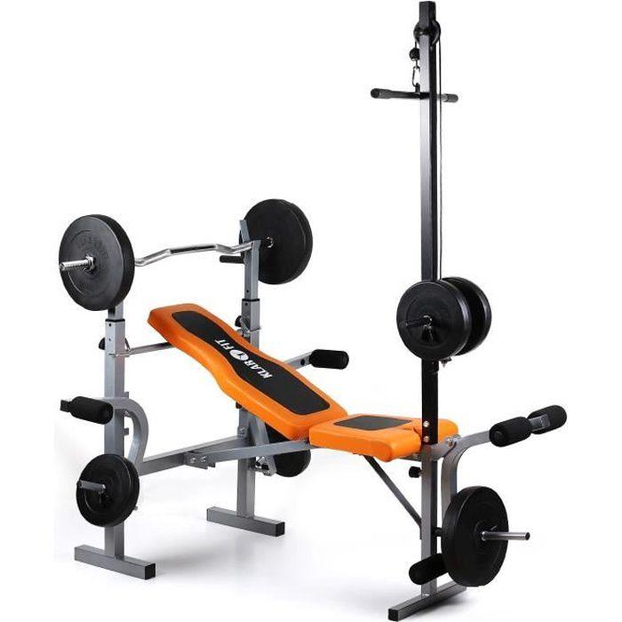 Klarfit Ultimate Gym 3500 Banc de musculation complet (curler bras & jambes, barre latissimus & support pour haltère, 250kg max.)